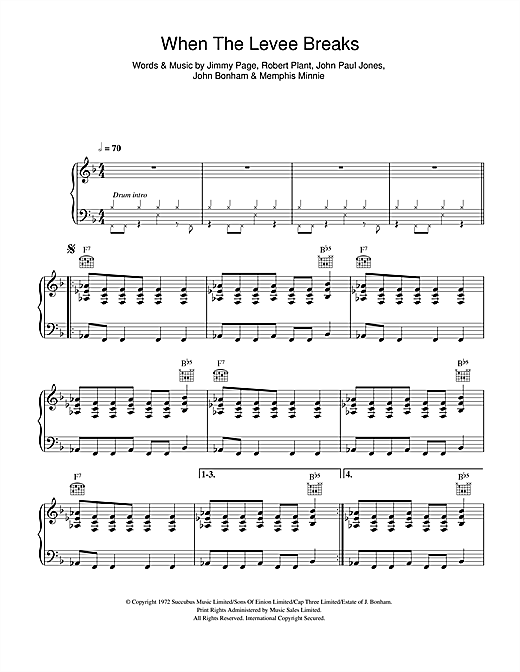 When The Levee Breaks sheet music by Led Zeppelin (Piano, Vocal ...