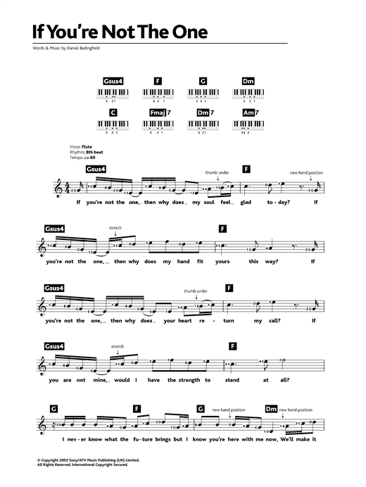 Partition piano If You're Not The One de Daniel Bedingfield - Synthétiseur