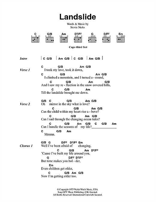 Landslide sheet music by Fleetwood Mac (Lyrics & Chords – 44400)