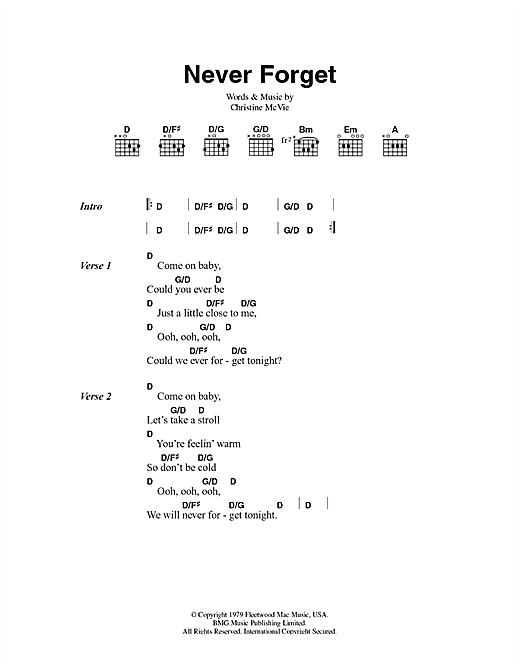Never Forget Sheet Music
