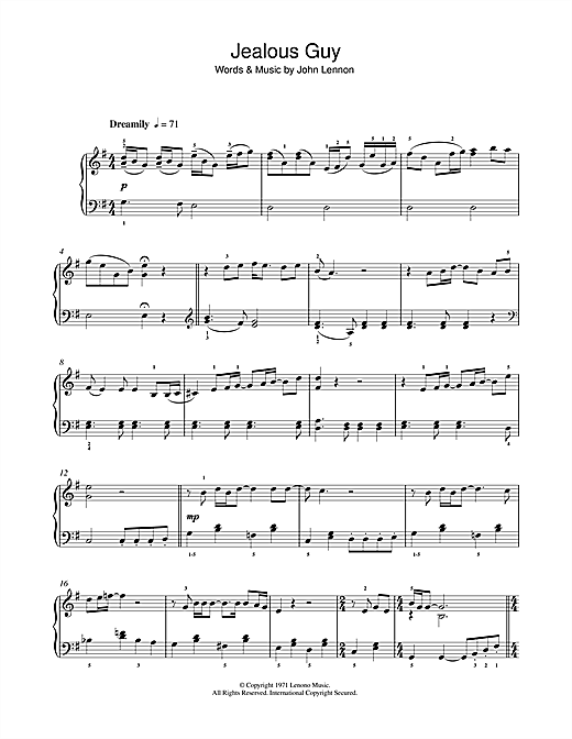 Jealous Guy Sheet Music