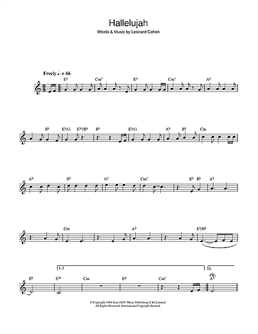 Hallelujah Alto Sax Solo Print Sheet Music Now