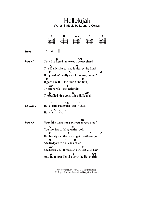 Hallelujah sheet music by Leonard Cohen (Lyrics u0026 Chords u2013 44440)