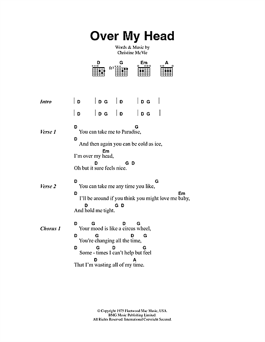 Over My Head Sheet Music