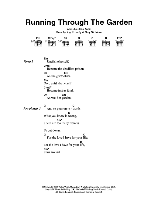 Running Through The Garden Sheet Music