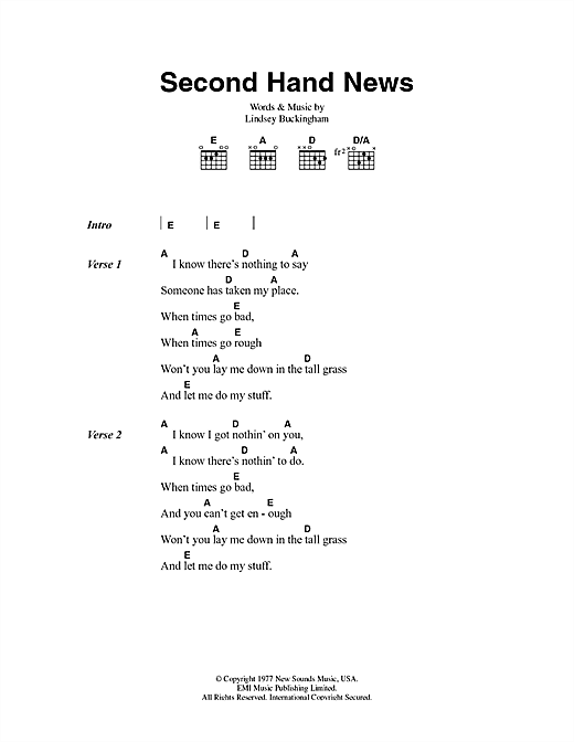 Second Hand News Sheet Music