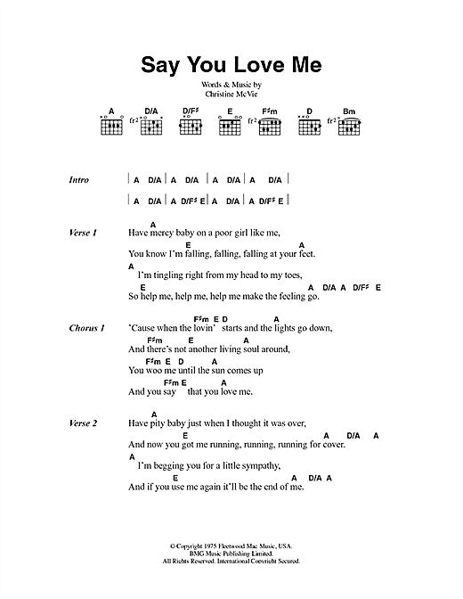 Say You Love Me (Guitar Chords/Lyrics)