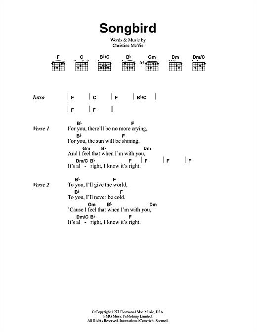 Songbird Chords Image collections - finger placement guitar chord chart