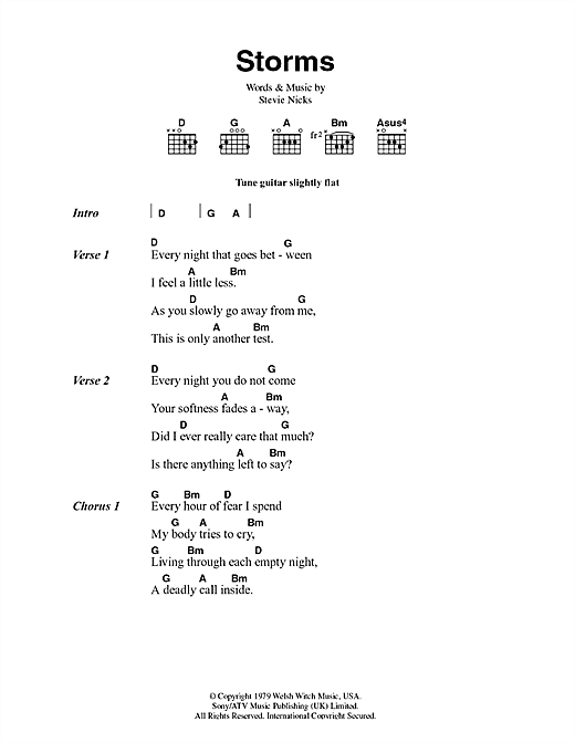 Piano piano tabs song of storms : Storms sheet music by Fleetwood Mac (Lyrics & Chords – 44461)