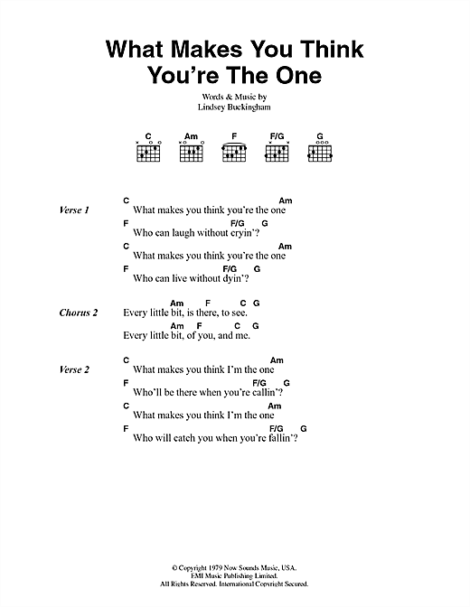 What Makes You Think You're The One Sheet Music