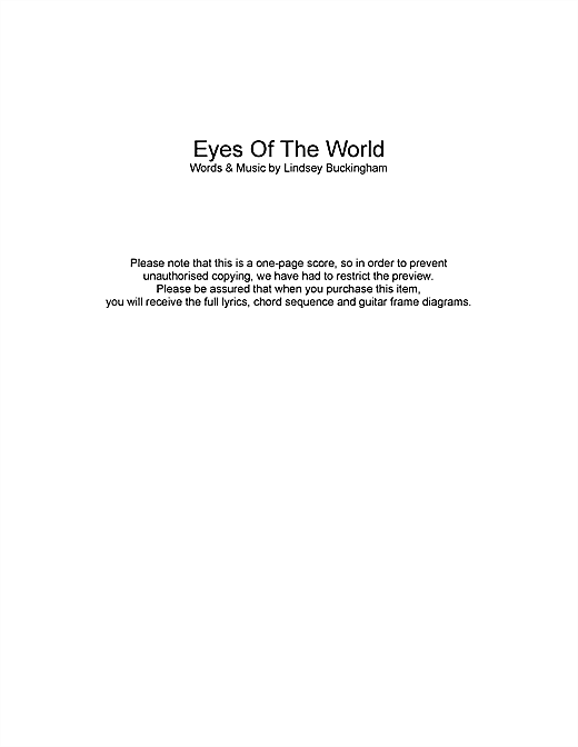 Eyes Of The World Sheet Music