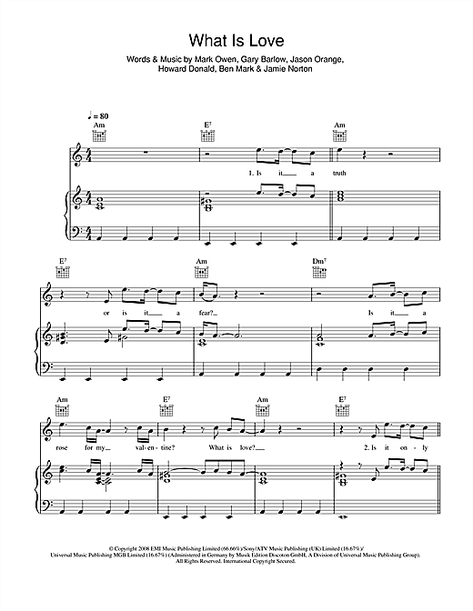 What Is Love Sheet Music