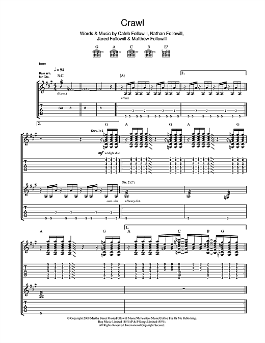 Tablature guitare Crawl de Kings Of Leon - Tablature Guitare