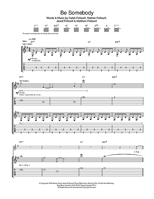 Tablature guitare Be Somebody de Kings Of Leon - Tablature Guitare