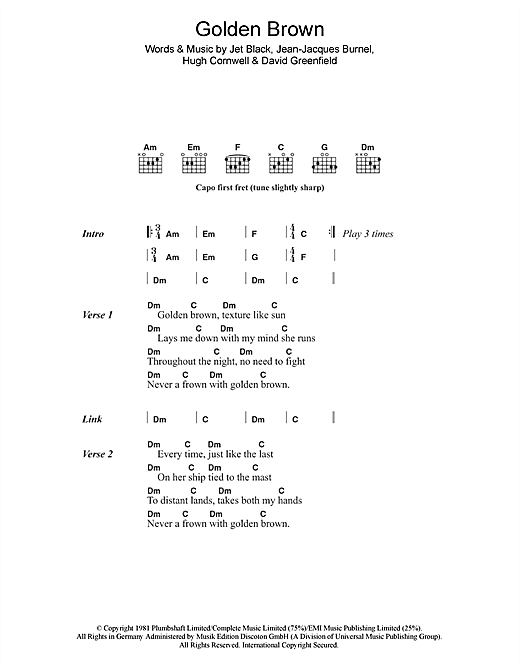 Golden Brown (Guitar Chords/Lyrics)