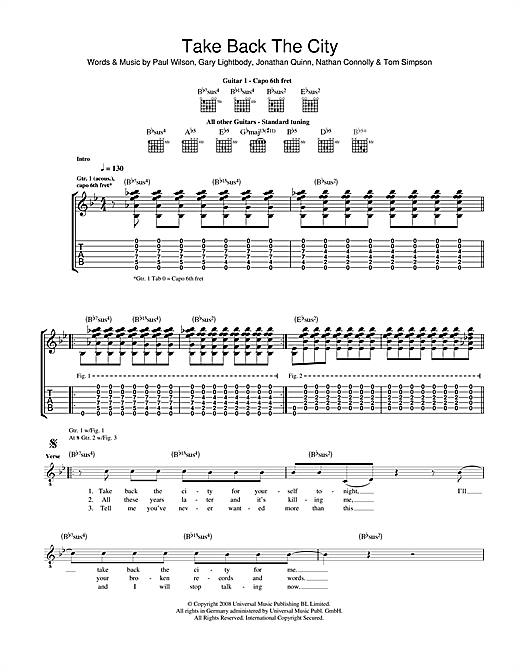 Tablature guitare Take Back The City de Snow Patrol - Tablature Guitare