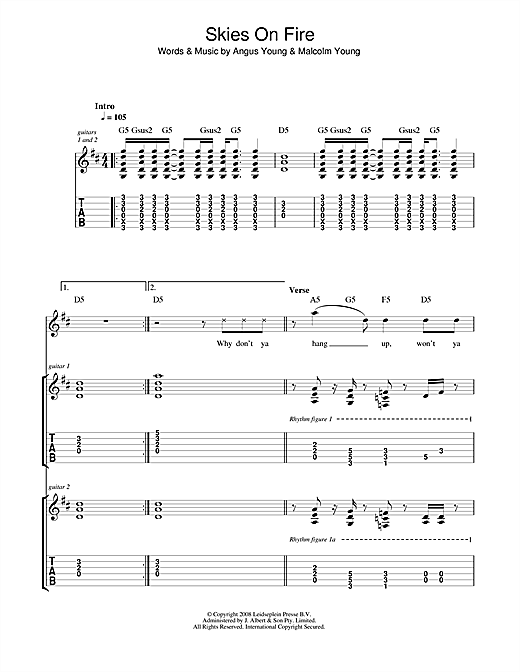Skies On Fire Sheet Music