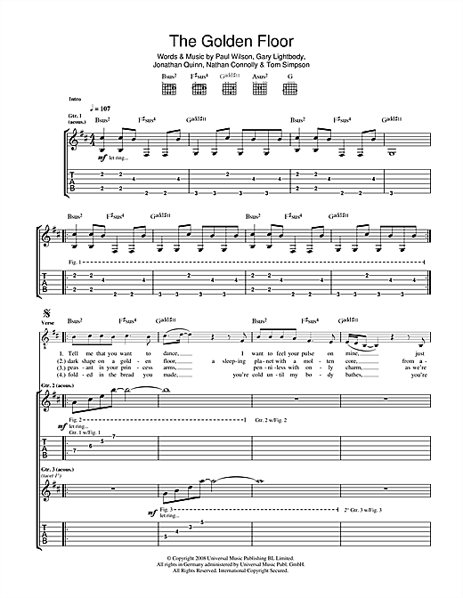 Tablature guitare The Golden Floor de Snow Patrol - Tablature Guitare