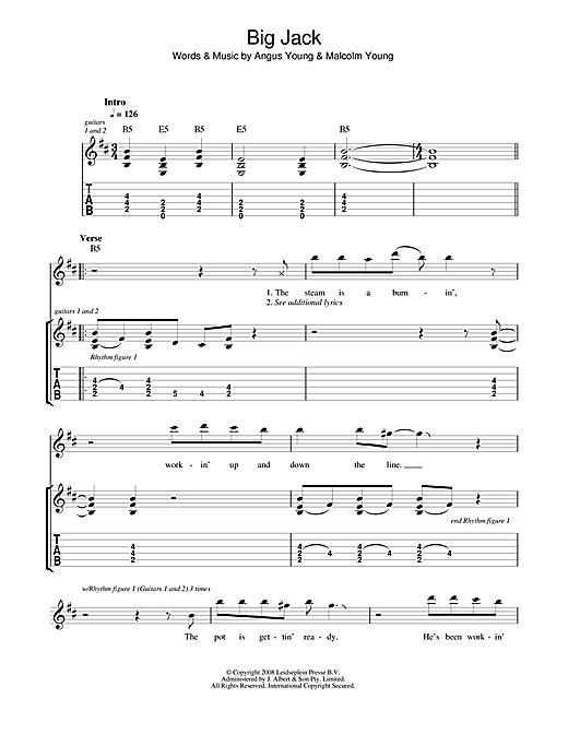 Guitar ac dc guitar tabs : Big Jack Guitar Tab by AC/DC (Guitar Tab – 44542)
