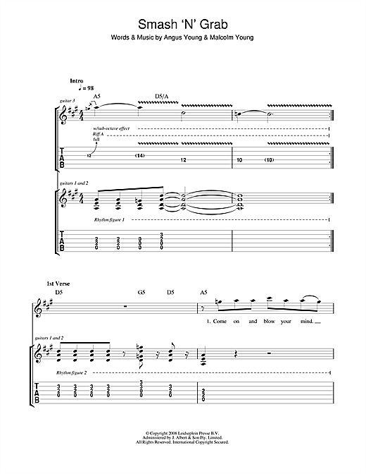 Tablature guitare Smash 'N' Grab de AC/DC - Tablature Guitare