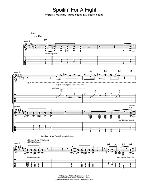 Spoilinu0026#39; For A Fight Guitar Tab by AC/DC (Guitar Tab u2013 44549)