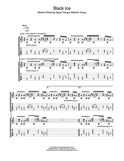 Tablature guitare Black Ice de AC/DC - Tablature Guitare