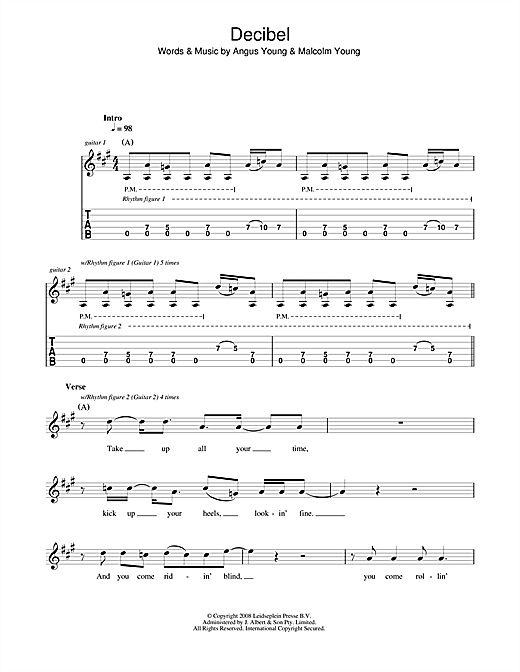 Tablature guitare Decibel de AC/DC - Tablature Guitare