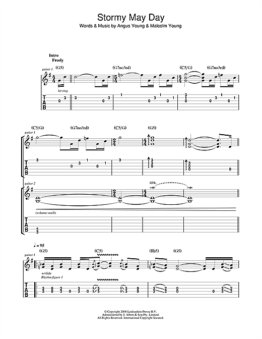 Tablature guitare Stormy May Day de AC/DC - Tablature Guitare