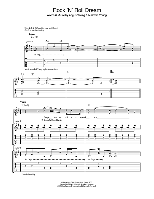 Rock 'N' Roll Dream Sheet Music