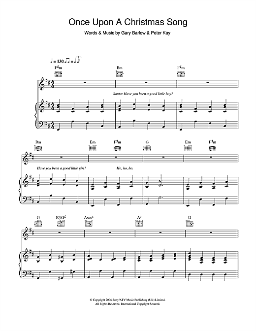 Once Upon A Christmas Song Sheet Music