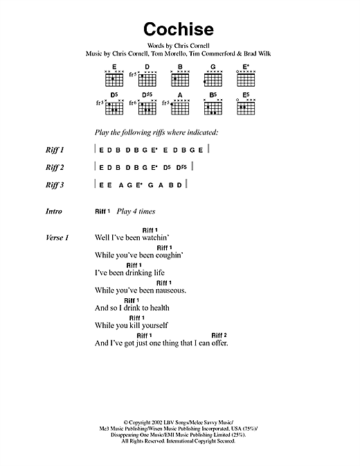 Cochise (Guitar Chords/Lyrics)