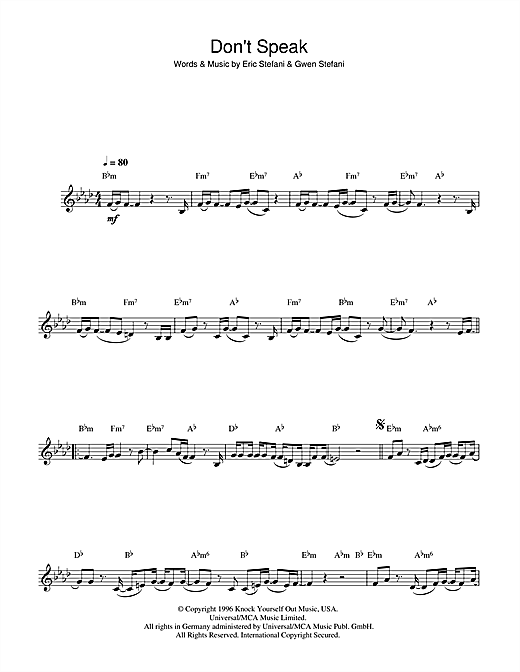 Don't Speak Sheet Music