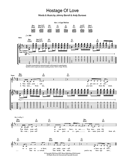 Hostage Of Love Sheet Music