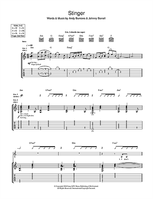 Tablature guitare Stinger de Razorlight - Tablature Guitare