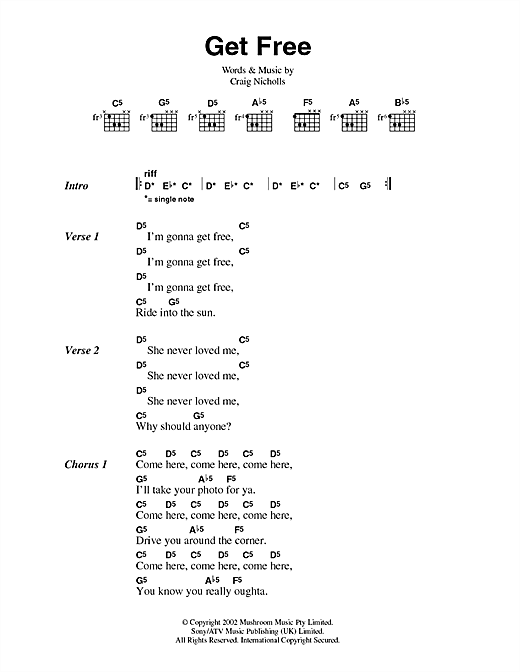 Get Free (Guitar Chords/Lyrics)