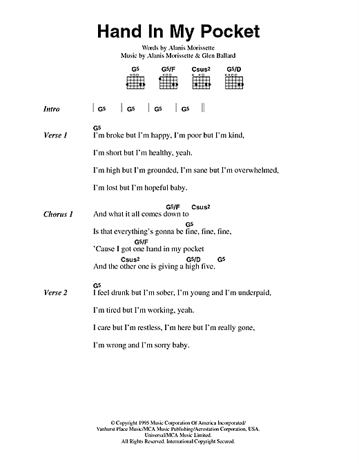 Hand In My Pocket Sheet Music By Alanis Morissette Lyrics Chords