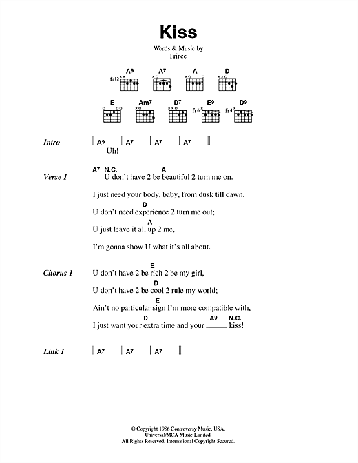 Kiss sheet music by Prince (Lyrics & Chords – 44676)