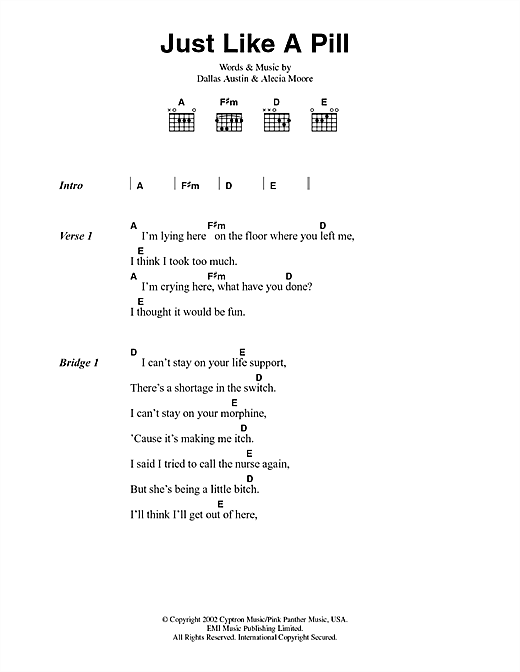Just Like A Pill Sheet Music