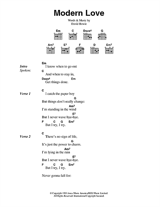 Modern Love Sheet Music