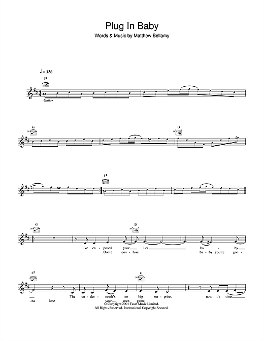 Plug In Baby Sheet Music