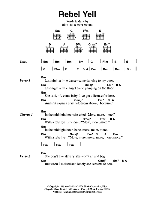 Rebel Yell Sheet Music By Billy Idol Lyrics Amp Chords 44699