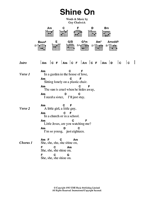Shine On Sheet Music By House Of Love Lyrics Chords 44705