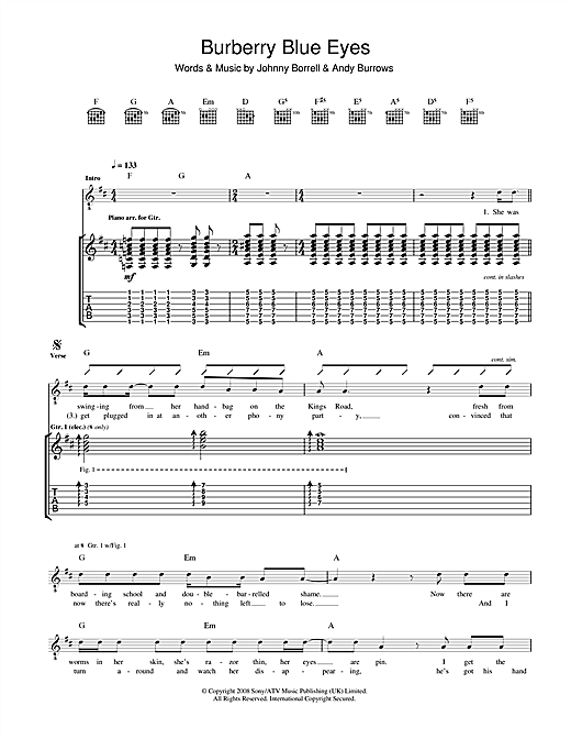 Burberry Blue Eyes Sheet Music