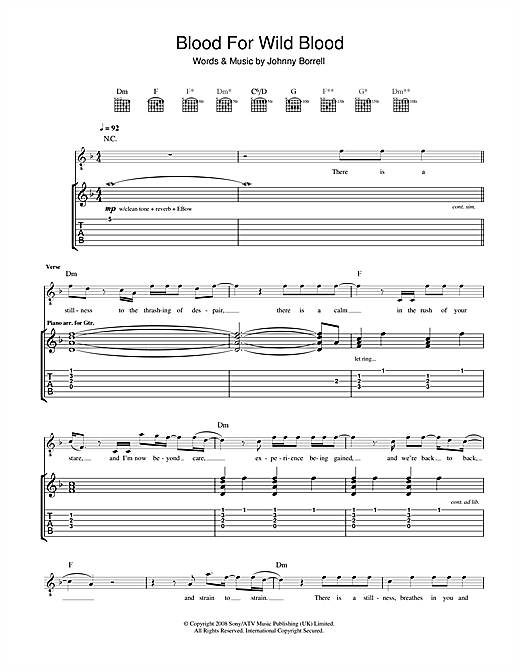Blood For Wild Blood Sheet Music