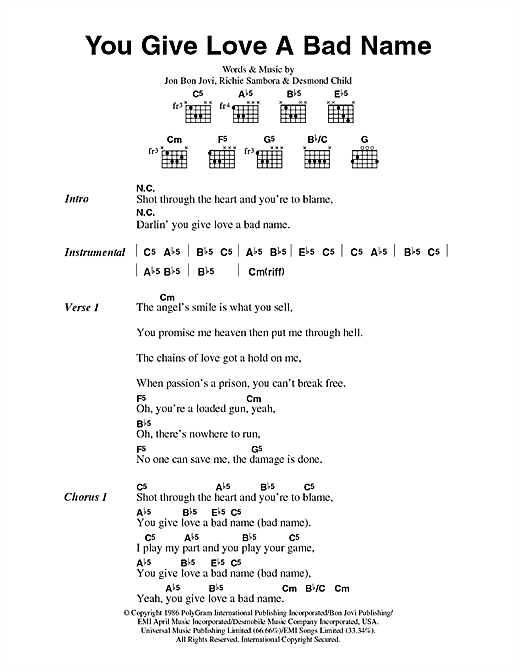 You Give Love A Bad Name (Guitar Chords/Lyrics)
