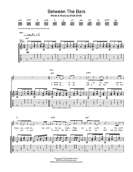 Tablature guitare Between The Bars de Elliott Smith - Tablature Guitare