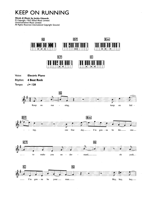 Partition piano Keep On Running de The Spencer Davis Group - Synthétiseur