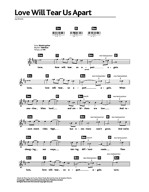 Love Will Tear Us Apart sheet music by Joy Division ...