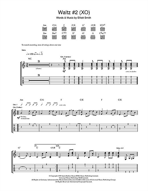 Waltz #2 (XO) Guitar Tab by Elliott Smith (Guitar Tab u2013 44800)