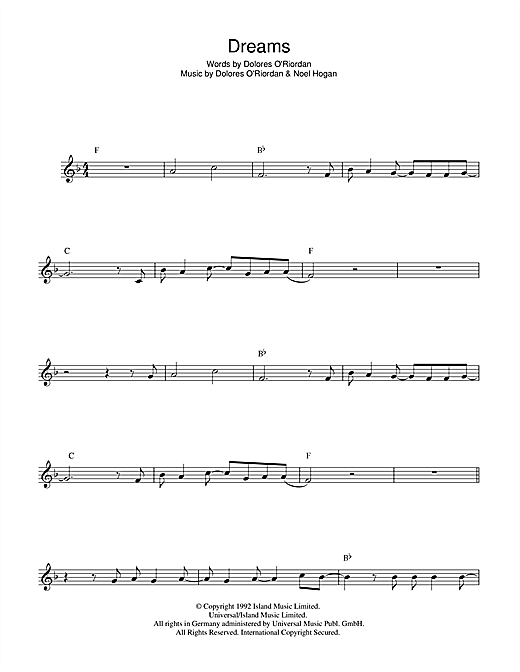 Guitar guitar chords zombie cranberries : Dreams sheet music by The Cranberries (Flute – 44805)